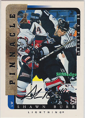 1996-97 Pinnacle Be A Player Auto: Shawn Burr #191 On Card Autograph Lightning