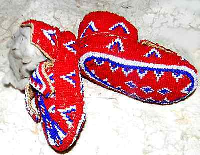 "Vintage Antique Circa 1885 Sioux Indian 4.5"" Ceremonial Baby Youth Moccasins"