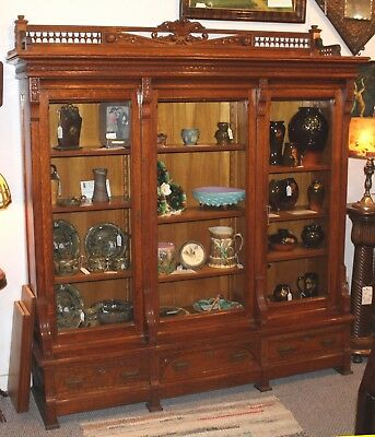 Antique Victorian Oak three door Bookcase – Eastlake Style
