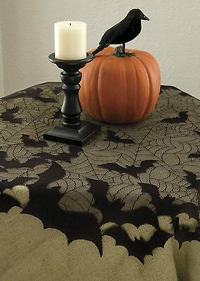 "GB-4400B USA Lace~Going Batty Halloween 44"" Table Topper Vampire Bat Spider Web"
