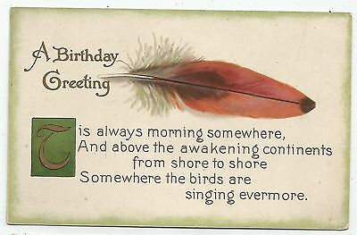 greetings postcard england feather