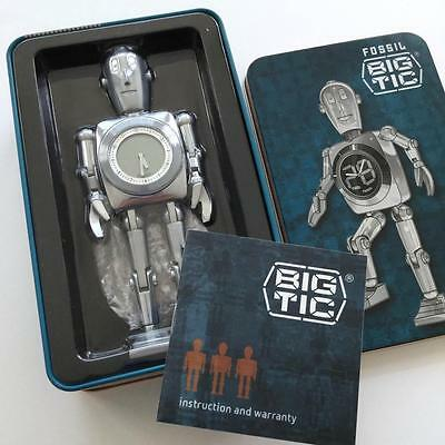 "Fossil Big Tic Metal Retro Robot Display Clock 6"" - New Condition with Tin Box"