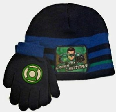 DC Comic Green Lantern Child Beanie Hat & Gloves Cold Weather Combo set New