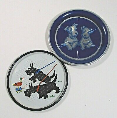 """2 Scotty/scottie dog metal coasters, 1 punched tin vintage 2.2"""" & 3.6"""" ᴿ t2"""
