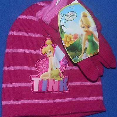 Disney Fairies Tinkerbell Girls Pink Beanie Hat & Gloves Cold Weather set New