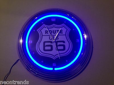 US ROUTE 66 blue black Wanduhr Neonuhr sign Bar Neon signs clock Uhr Neonclock