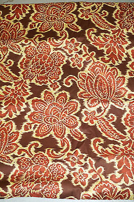 Cotton Voile Fabric Brown Ikat  Apparel Weight Smooth Hand  Floral   Bfab