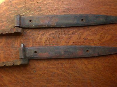 Two Old Antique Large Bran or Garage Door Wrought Iron Hinges and Pins c1850