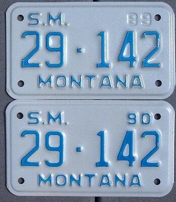 Lot 2 MONTANA Motorcycle Style Special Mobile License plates  1989 - 90   Same #