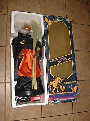 Rare Topstone WITCH Works Halloween Telco motionette animated prop box & Broom