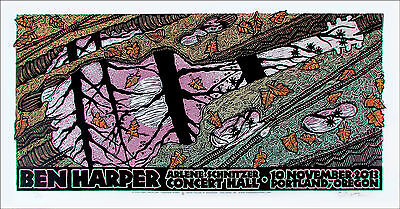Ben Harper Poster Schnitzer Hall Portland 2013 Signed Silkscreen Gary Houston