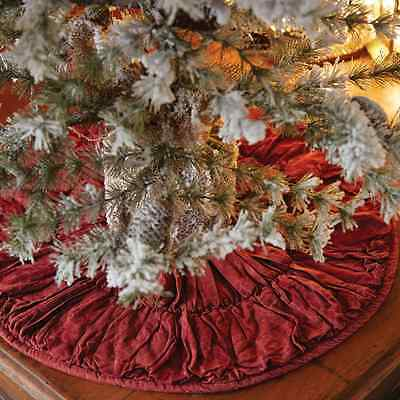 """Anders Christmas Mini Tree Skirt 21"""" D Distressed Brick Red Quilted Ruching"""