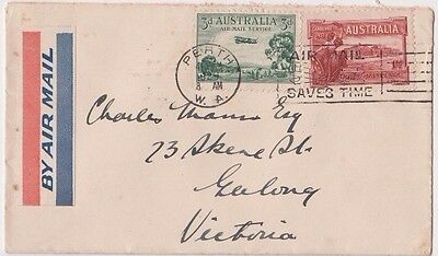 Stamps various flight cover Western Australia to Victoria airmail vignette