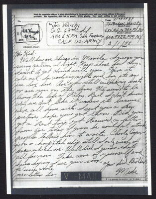 US 1945 V-Mail, 684 Pt. Company, 389 Pt. Battery (Italy) APO 783, ltr to brother