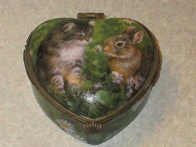 PERSIS CLAYTON WEIRS Wild Wings KITTEN & BUNNY Heart Shaped TRINKET BOX VHTF