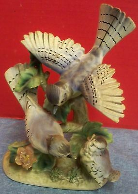 "Vintage Bisque Porcelain Figurine Blue Jay Birds Family Lipper & Mann Japan 7"" T"