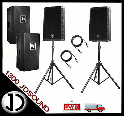 """2x EV ZLX12P two-way 12"""" active speakers + STANDS AND CABLES"""