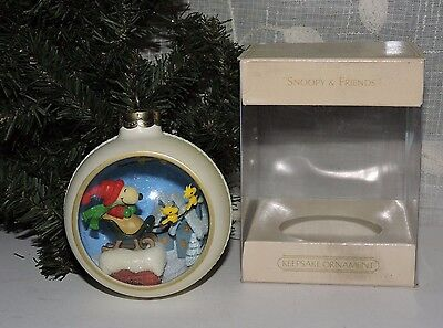 Hallmark 1982 Snoopy and Friends 4th Panorama Ball Christmas Ornament Peanuts