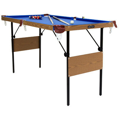 Charles Bentley 4Ft 6 Inch Blue Pool Games Table Including Balls & 2 Cues