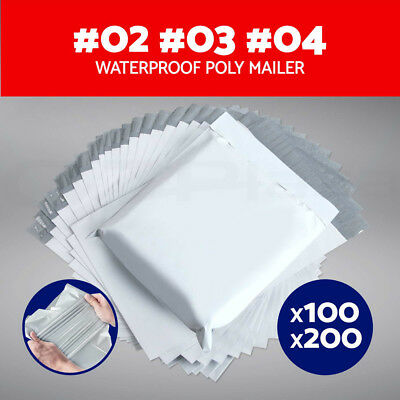100/200X Poly Mailer Plastic Satchel Post Shipping Courier Bags Size #02 #03 #04