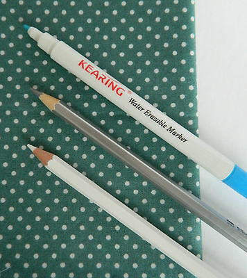Fabric Marking Pencil & Pen ~ Water Erasable for Embroidery Quilting Patchwork