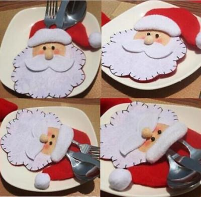 Christmas Holders Pocket Dinner Table Decor Party Santa Claus Head Cutlery Bag B