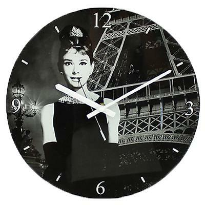 Icons Collection 30cm Glass Wall Clock Boxed - Audrey Hepburn