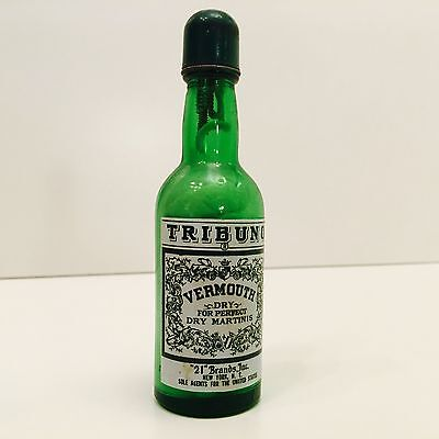 Vintage Unlit Sparking Tribuno Vermouth Lighter Novelty Ad Green Glass Bottle