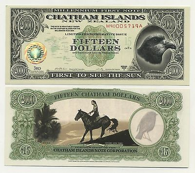 Chatham Islands 15 Dollars 1999 A  Polymer / Tyvek Pick NL UNC Banknote