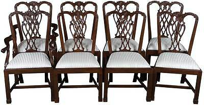 Set of 8 Carved Solid Mahogany Chippendale New Dining Room Chairs Antique Style