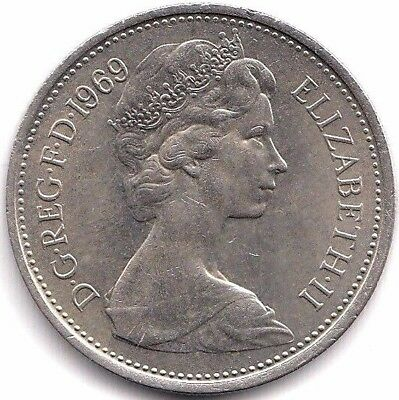 1969 Uncirculated British 5p Five New Pence Coin