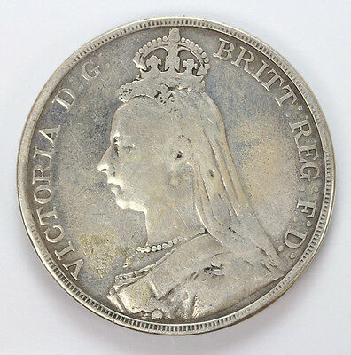 1889 Great Britain Silver Crown KM765 - F #01238414g