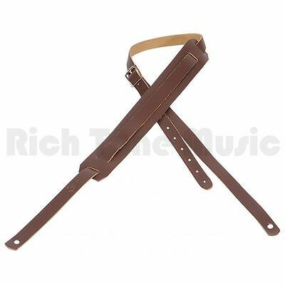 Levys Leather Guitar Strap with Movable Pad and Buckle - Brown