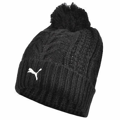 Puma Womens Chunky Cable Knit Pompom Bobble Beanie Winter Hat - One Size