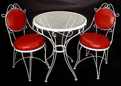 Vintage Red White Wrought Iron Ice Cream Parlor Kitchen Table Chairs Refurbished