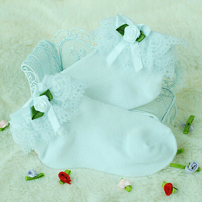 New Girls White Lace Frilly Christening Socks 1-8 Years