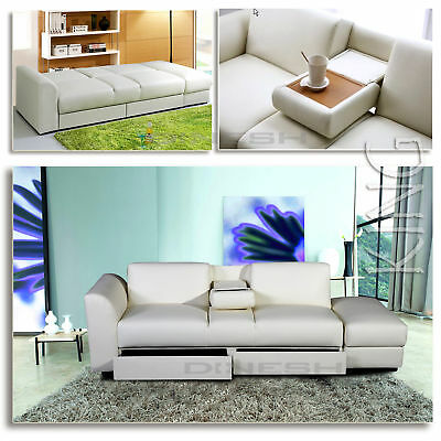 """KING"" Convertible Sofa White bed Faux leather Sleeper Lounge Couch"