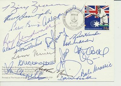 Australian Bicentenary postcard signed by 18 Test Greats