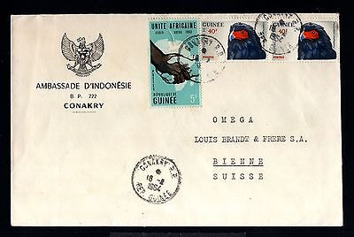 12830-GUINEE-AIRMAIL COVER CONAKRY to BIENNE (switzerland)1964.FRENCH GUINEA
