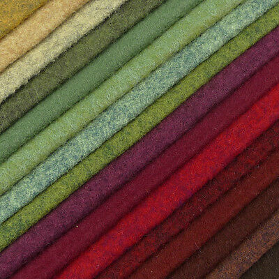 Woolfelt ~ 22cm x 90cm ~ Hedgerow / wool blend felt fabric red heathered green