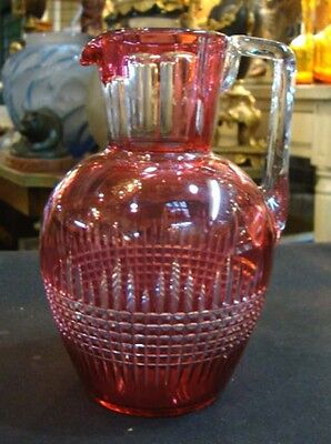 Antique European  Red Cut Crystal Small Pitcher Jug