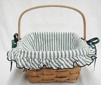 """Longaberger 8"""" Square Berry Basket Swing Handle Green Striped Fabric Liner 1991"""