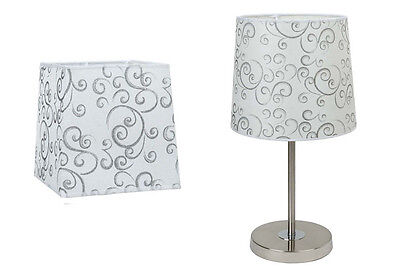White & Silver Cloud Pattern Table Lamp Shade, Small, Large, Round, Square.