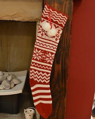 60cm Traditional Knitted Wool Christmas Present Stocking - Snowflakes & Stripes