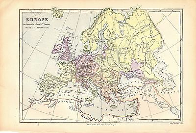 1878 EUROPE Period Of The REFORMATION Antique MAP WILLIAM COLLINS