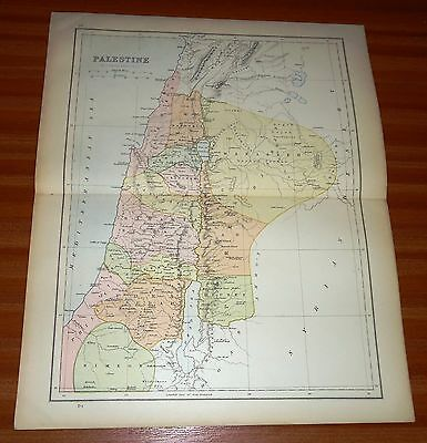 1878 PALESTINE By BARTHOLOMEW Antique MAP WILLIAM COLLINS
