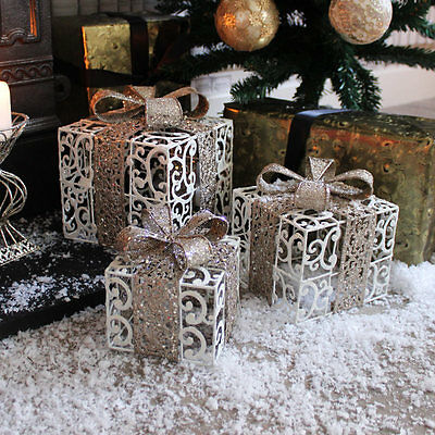 White gold set of 3 decorative presents Christmas decoration gift sparkle home