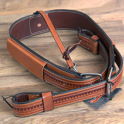 """Circle Y 3"""" Shell Tooled Leather Horse Flank Girth Cinch Regular Oil"""