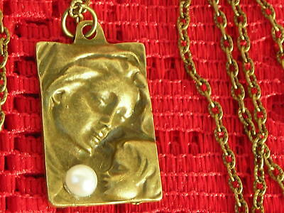 Virgin Mary & Jesus Baby Large Brass 3-D Relief Pendant W. Cab & Brass Chain