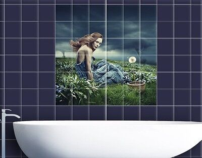 Tile Mural Woman in storm